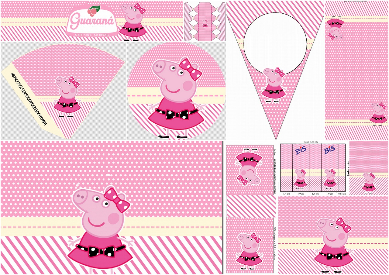 miss peppa pig  free printable birthday party mini kit
