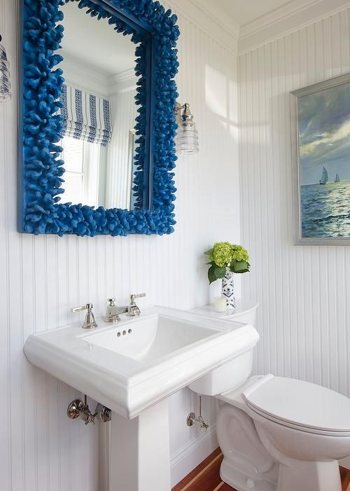 Blue Coral Mirror Coastal Bathroom Idea