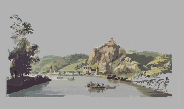 Rhein mit Booten und Berge