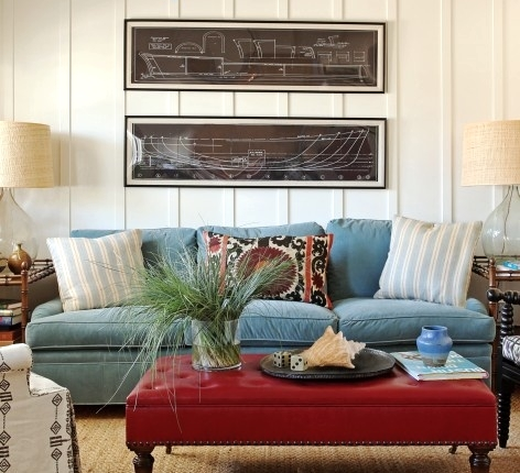 ship blueprints wall decor idea above sofa