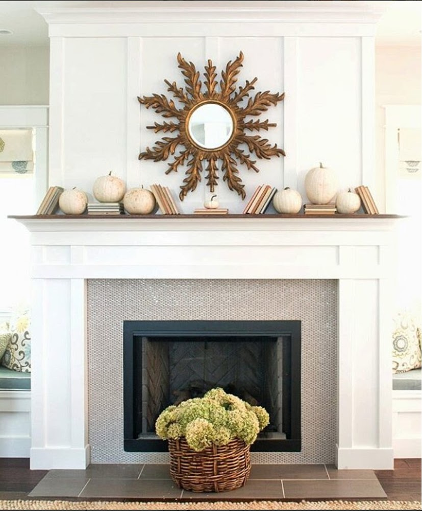 white fireplace penny tile