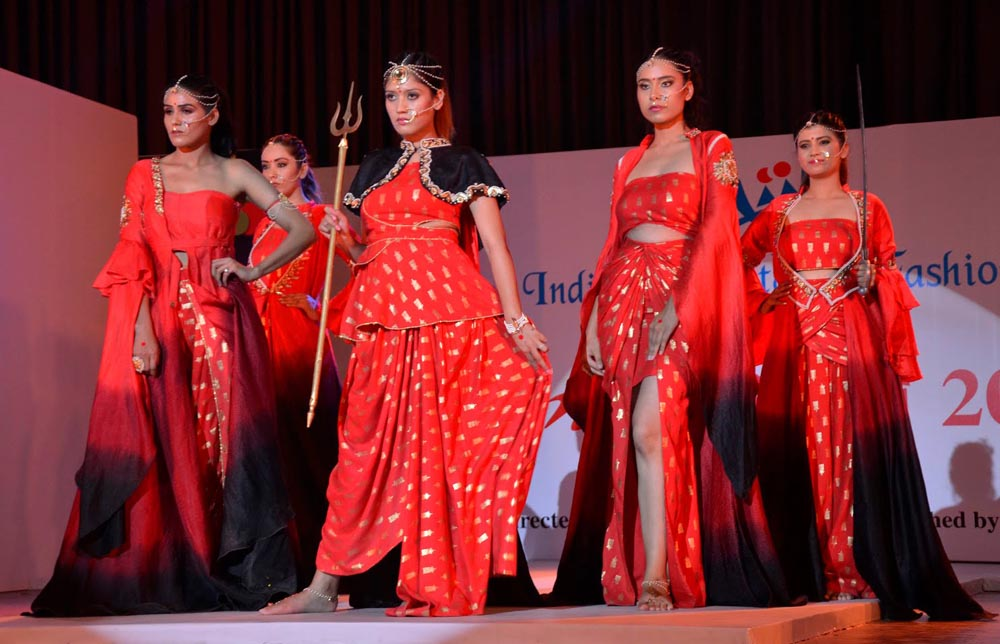 Models walk on ramp during Anukama Fashion Show at NIIFT Mohali