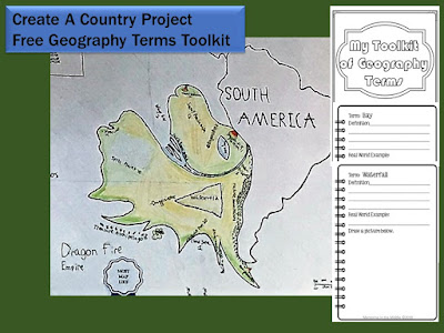 create a country, geography, land forms, art, writing, project based learning