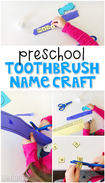 This toothbrush name craftivity is fun for name and fine motor practice with a dental health theme. Great for tot school, preschool, or even kindergarten!