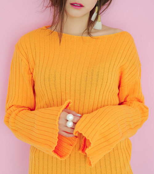 Ribbed Boat Neck Pullover