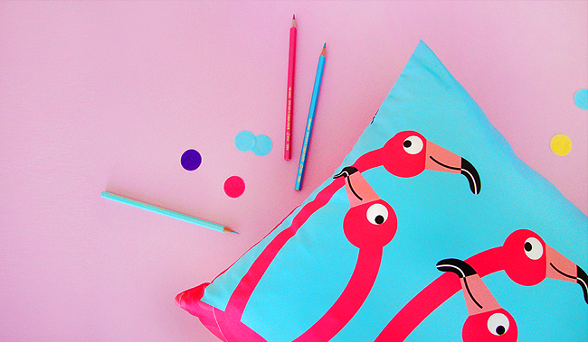 flamingo pillow, I LIKE PAPER, illustration