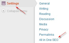 setting all in one seo pack