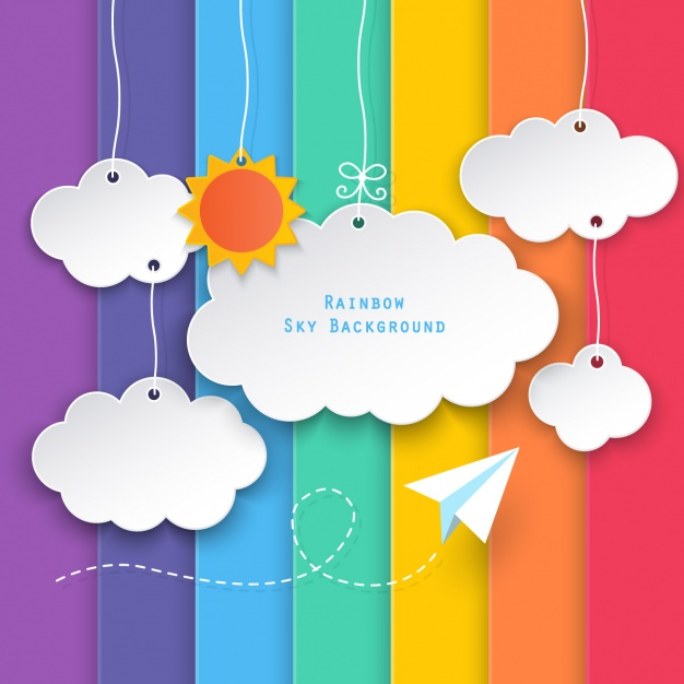 Clouds on a background of colored bars Free Vector