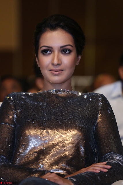 Actress Catherine Tresa in Golden Skin Tight Backless Gown at Gautam Nanda music launchi ~ Exclusive Celebrities Galleries 002.JPG
