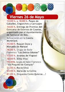 Feria de la Manzanilla 2017 - Programa día 26 de mayo
