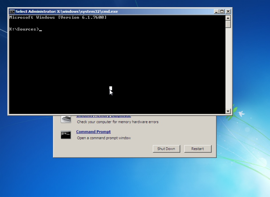 Command Prompt via System Recovery Option