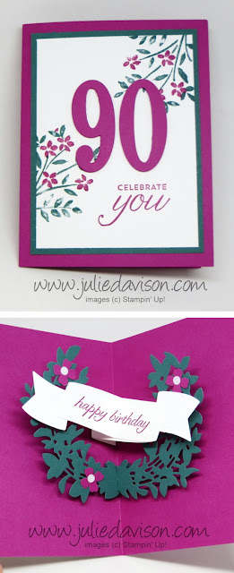 Stampin' Up! Lovely Laurels Pop Up + Number of Year 90th Birthday Card ~ www.juliedavison.com