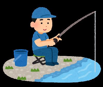 釣りをしている人のイラスト(川)