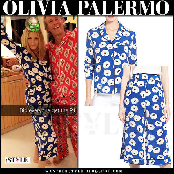 Olivia Palermo in blue floral print pyjama shirt and pants chelsea28 what she wore