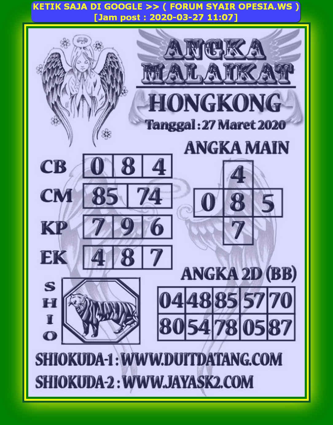 Kode syair Hongkong Jumat 27 Maret 2020 162