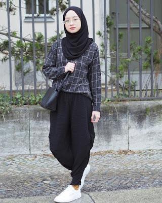 style kemeja flanel wanita hijab tahun ini
