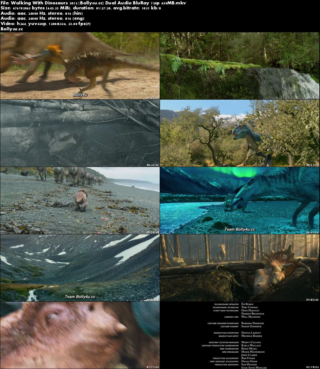 Walking With Dinosaurs 2013 BluRay 650Mb Hindi Dual Audio 720p Download