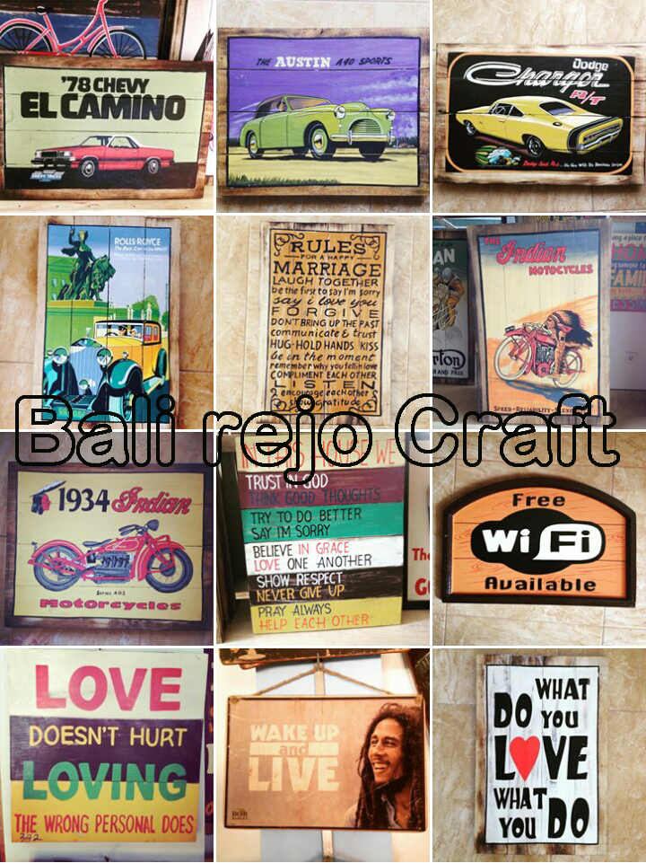 Bali Signs Board Wood Surf Keychains Magnet Airbrush Carved Paint Vintage Retro Classic Home