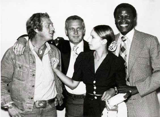 Newman with McQueen, Barbara Streisand, and Sidney Poitier shortly after they formed the production company First Artists