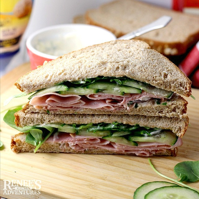 Ham, cucumber, and Watercress Sandwich