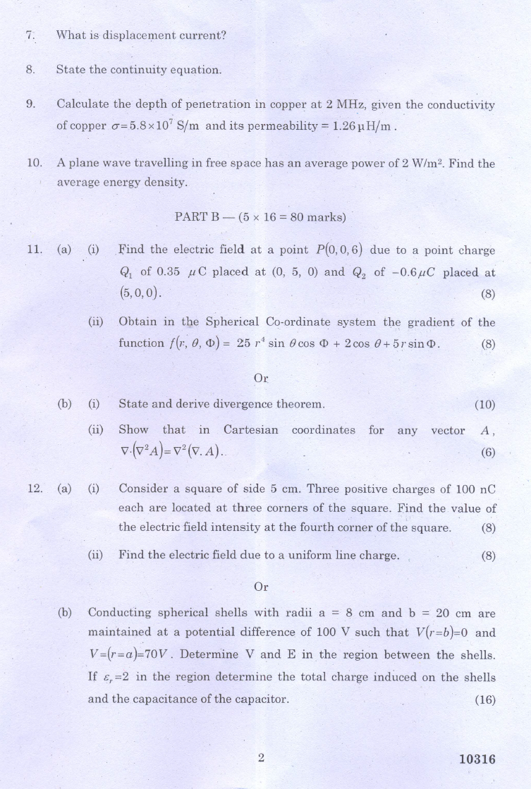 EE2202 Electromagnetic Theory May June 2012 Question Paper