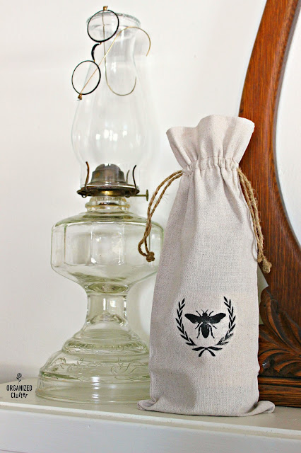 Stenciled Fabric Wine Bottle Sack