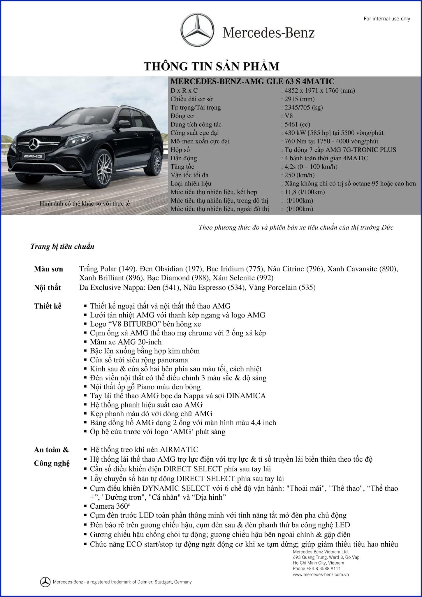 Bảng thông số kỹ thuật Mercedes AMG GLE 63S 4MATIC 2018 tại Mercedes Trường Chinh