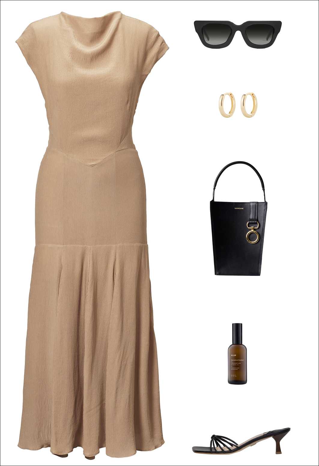 Stylish Black-Owned Fashion Brands — Summer Outfit Idea With a Camel Midi Dress, Gold Hoop Earrings, Black Bag, and Strappy Mule Sandals