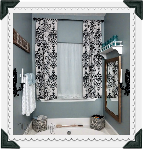 Black stenciled curtains at DIY beautify