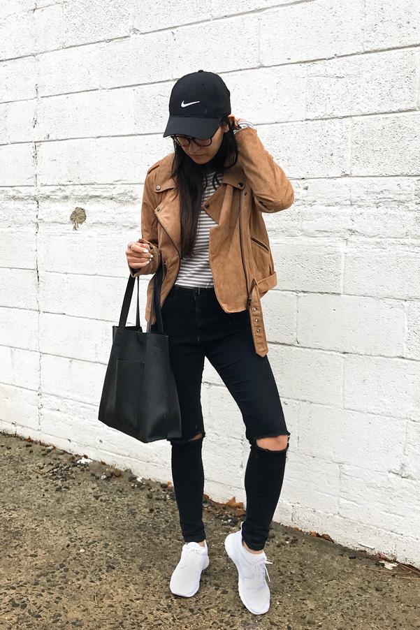 Baseball Hat Moto Jacket Black Jeans