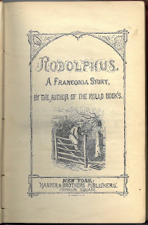 Title page to Rodolphus depicting a vignette of a boy climing on a fence in a rustic scene