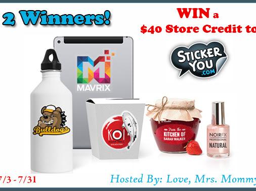 2 Winner - $40 StickerYou Custom Sticker Store Credit Giveaway!