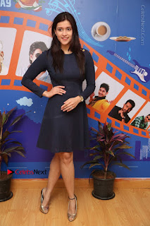 Actress Mannara Chopra Stills in Blue Short Dress at Rogue Song Launch at Radio City 91.1 FM  0090.jpg