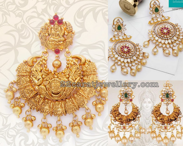 Pachi Work Chandbalis by Davanam Jewellers