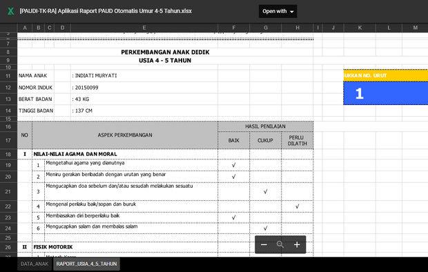 Aplikasi Raport PAUD RA TK Kurikulum 2013