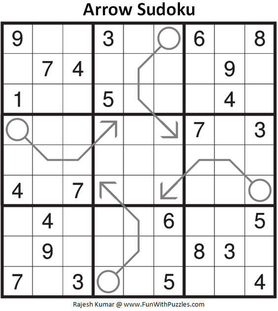 Arrow Sudoku Puzzle (Fun With Sudoku #383)