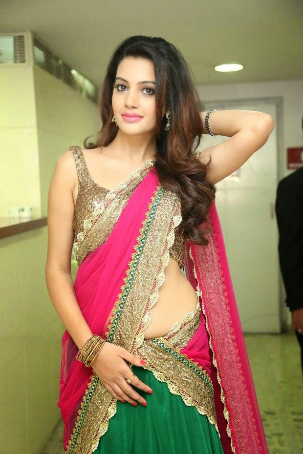 Deeksha Panth Latest Hot  Spicy Photos In Pink Half-Saree -2170
