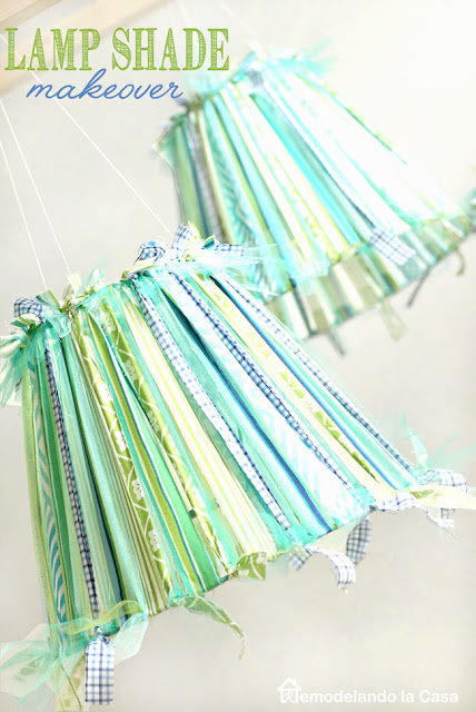 how to use ribbons and fabric scraps to cover a pillow shade