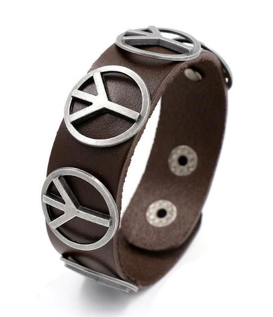 Leather Peace Sign Bracelet