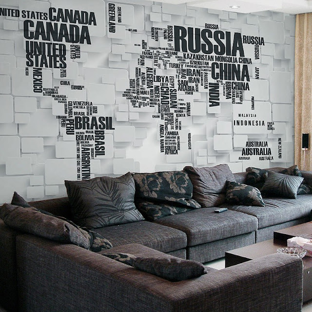 World Map Wall Mural 3D Brick Wall Countries Name Wallpaper Black And White Livingroom