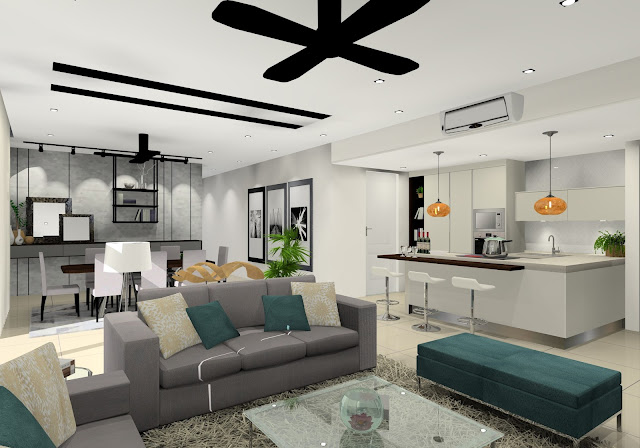 living hall and modern kitchen design - Meridian Interior Design