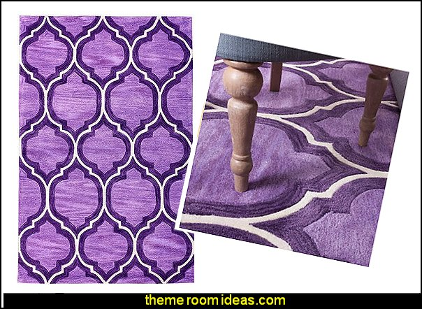 Moroccan Style Tufted area rug purple  I Dream of Jeannie theme bedrooms - Moroccan style decorating - Jeannie bedroom harem style - Arabian Nights theme bedrooms - bed canopy - Moroccan stencils - I dream of Jeannie bottle - satin bedding - throw pillows - Moroccan furniture