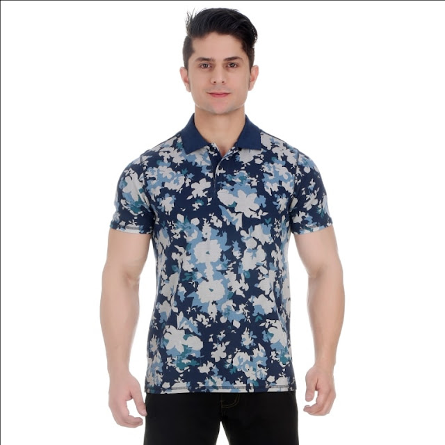 Overdyed Snorkel Blue All Over Floral Print Pique Cotton Polo T Shirt With Enzyme Wash