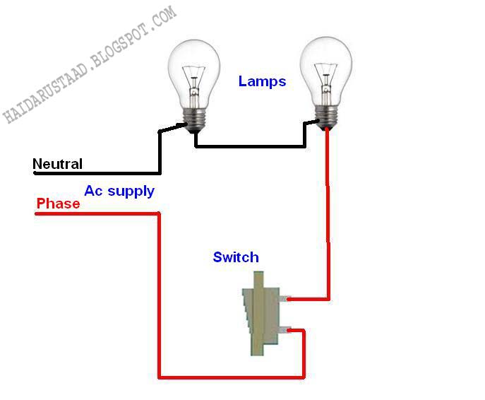 How to control 2 lamps (bulbs) by one way switch (series