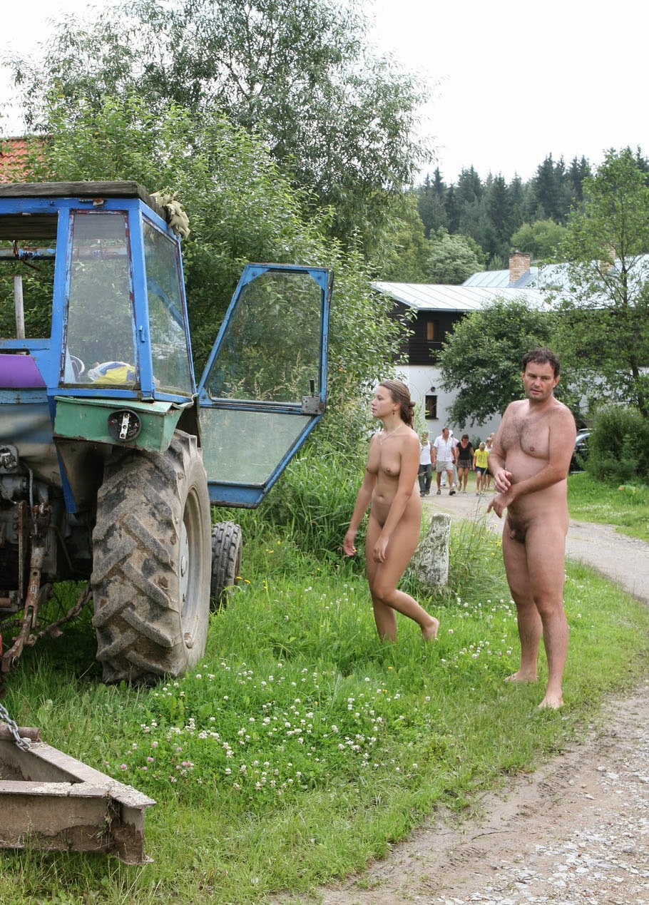 Charming nude camp nature touching