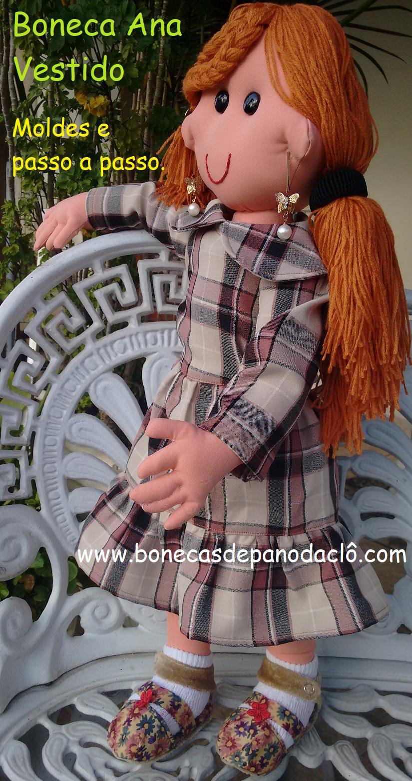 b99a74ae5 Bonecas De Pano Da Clô: Molde do Vestido da Ana Colegial
