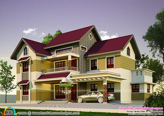 2200 Sq Ft 4 Bedroom Sloping Roof House Kerala Home