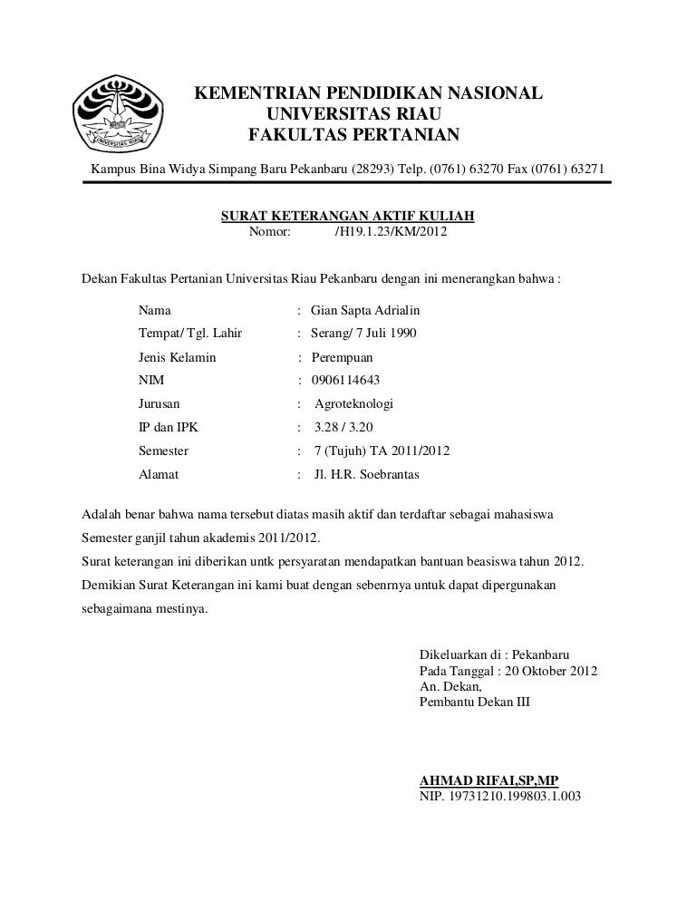 Cohtoh Surat Permohonan Aktif Kuliah