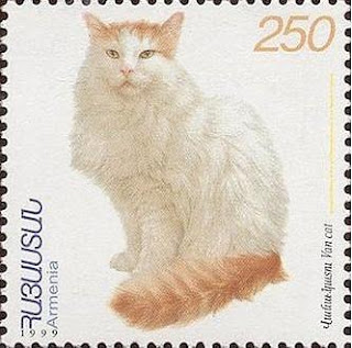 Armenian postage stamp (1999) showing a Turkish Van cat.