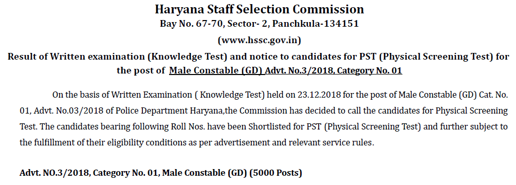 HSSC Constable Result